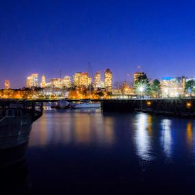 Skyline Boston by Fabrizio Contadini - City,  Street & Park  Skylines ( lights, water, skyline, sky, boston, night, landscape, city )