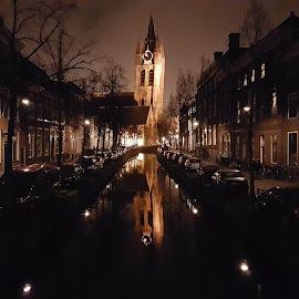 Oude Kerk (Old Church) in Delft,Netherlands by Dražen Komadina - City,  Street & Park  Street Scenes ( dražen komadina, oude kerk (old church) in delft, kom@dina, www.komadina.eu, netherlands )