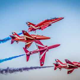 Red Arrows by Anthony P Morris - Transportation Airplanes ( arrows, red, anthony morris, airtattoo, airshow, redarrows )
