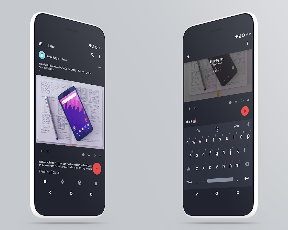 MaterialUp theme Dark! CM12 13 Screenshot 6