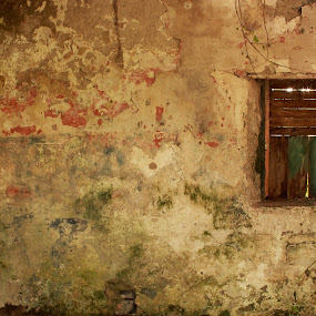 Painted Space by Michael Croghan - Buildings & Architecture Other Interior ( interior, building, red, window, wood, colors, green, old window, wooden window, romantic window, wall, colours )