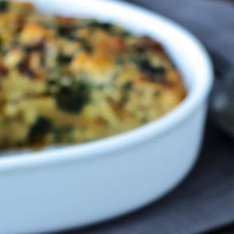 Savory Naan Bread Pudding with Spinach and Caramelized Onions