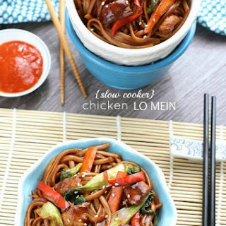 Slow Cooker Chicken Lo Mein Noodles with fresh or precooked noodles