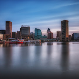 by Geoff Lawrence - City,  Street & Park  Skylines ( lee big stopper, baltimore, maryland, long exposure, sunrise )