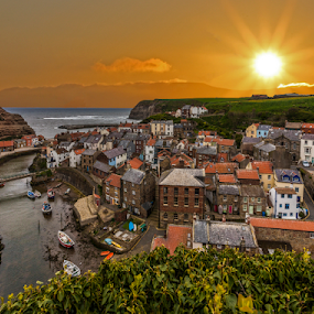 Sunrise At Staithes by Sandra Cockayne - Landscapes Sunsets & Sunrises ( staithes, whalers, sieaside village, seaside, seascape, morning, seaside town, roof, east coast, buildins, north yorkshire, dawn, yorkshire, sunrise, rooceskno poplewindow,  )