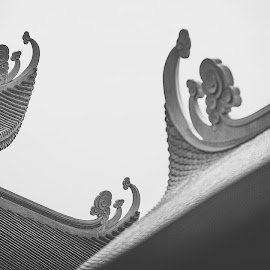 Pagoda, north Vietnam by Thomas Jeppesen - Black & White Buildings & Architecture ( roof, blackandwhite, buddhism, b&w, pagoda, black and white, bw, buddhist, composition, vietnam )