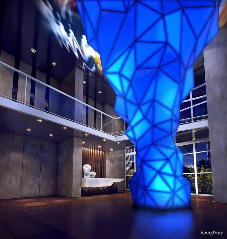 Perspectiva do Lobby com pé-direito duplo