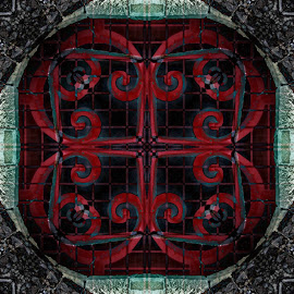 Red door pattern by Michael Moore - Digital Art Abstract