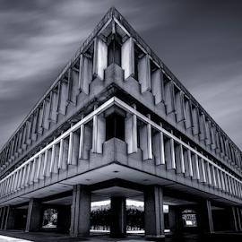 SFU Academic Quadrangle Building by Xavier Wiechers - Buildings & Architecture Other Exteriors ( angles, building, sky, b&w, cloud, quadrangle, sfu, perspective, architecture, geometric, simon fraser university, concrete, academic )