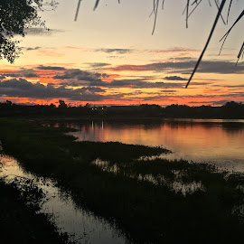 SBB Sunset by Rick King - Instagram & Mobile iPhone ( water, clouds, reflection, sky, waterscape, sunset, pond )