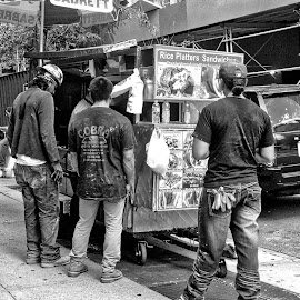 NYC Lunch by Judy Laliberte - Novices Only Street & Candid ( story telling, b & w, nyc, street scene, people )