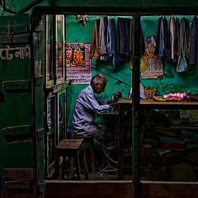 The Tailor by Chiradeep Mukhopadhyay - People Street & Candids ( kolkata, night, low light, nikon, d5100, street photography )