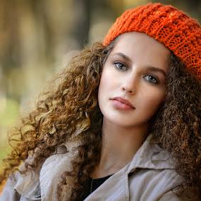 Orange cap by Cvetka Zavernik - People Portraits of Women ( orange, girl, nature, autumn colors, hair,  )