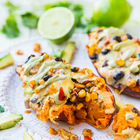 , Black Beans, and Corn-Stuffed Sweet Potatoes with Avocado Crema ...