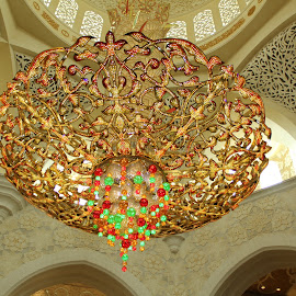 Chandelier  by Roshni Tito - Artistic Objects Antiques ( chandelier, colorful, glass, artistic, grandmosque, vibrant, antique )