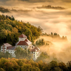 Stari grad by Joško Šimic - Landscapes Sunsets & Sunrises ( old, mountain, europe, dolenjska, house, architecture, landscape, otočec, sky, tree, nature, village, autumn, no people, everypixel, hill, church, scenics, forest, history, novo mesto, building exterior, outdoors, slovenia, stari grad, rural scene,  )