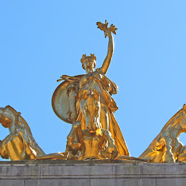 The Golden Monument I by Joatan Berbel - Buildings & Architecture Statues & Monuments ( cultural heritage, statues, artistic, architectural detail, golden )