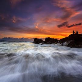 Enjoying the Dusk by Choky Ochtavian Watulingas - Landscapes Sunsets & Sunrises ( clouds, motions, seashore, peoples, sunset, twilight, wave, beach, seascape, dusk, skies,  )