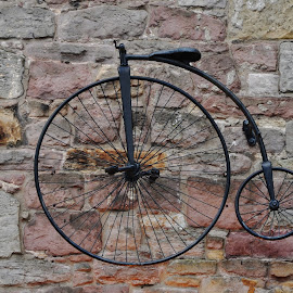 Old bicycle on the wall by Dubravka Krickic - Transportation Bicycles ( scotland, old, bike, edinburgh, wall, bicycle )