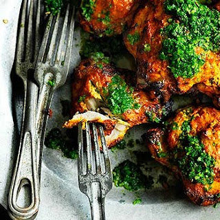 Oven-baked Tandoori Chicken With Mint And Coriander Relish