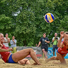 The Point ! by Marco Bertamé - Sports & Fitness Other Sports ( sand, ball, beach volley, beach, luxembourg, jump, two, red, blue, summer, lady, lbo, volley )