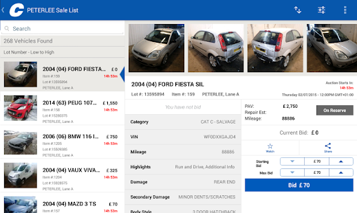 Copart salvage car auctions free android app market for Ebay motors app for android