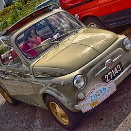 Topolino by Marco Bertamé - Transportation Automobiles ( italian, green, fiat, number, 27143, luxembourg, 500, 3, 2, number plate, 1, red, flag, 7, 4, beige, italy )