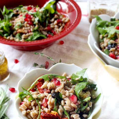 Fall Farro Salad with Pomegranate Seeds & Cranberries and Maple Apple Cider Vinegar Dressing