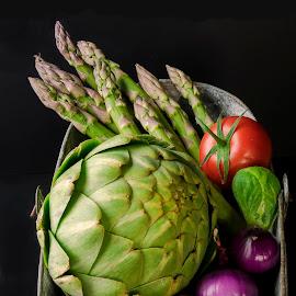 Vintage Bucket #4 Aspargas & Onions by Jim Downey - Food & Drink Fruits & Vegetables ( artichoke, brussels spout, tomato, asparagas, onion )