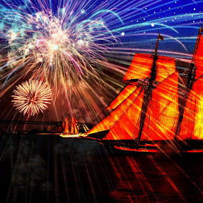 by Alice Gipson - Abstract Fire & Fireworks ( pwcfireworks, penns landing, alicegipsonphotographs, fireworks, tallship, color, colors, landscape, portrait, object, filter forge )