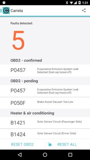 Carista OBD2 - screenshot