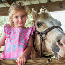 Gianna with Halo by Joe Saladino - Babies & Children Child Portraits ( child, girl, horse, portrait, animal )
