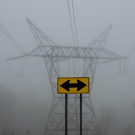 Decisions About Energy 4 by Kevin Lucas - Landscapes Weather ( directions, sign, foggy, alternative energy, decisions, power lines, power, kevin lucas, energy )