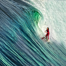 The Slope by Juliet Newton - Sports & Fitness Surfing ( red, surfing, fitness, color, tube, waves, green, sports, board, man )