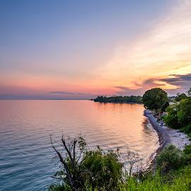 Lake Ontario Sunset by Jack Brittain - Landscapes Sunsets & Sunrises ( lake ontario, shore, water, canada, grass, sunset, outdoor, trees, lake, ontario, landscape, oshawa )