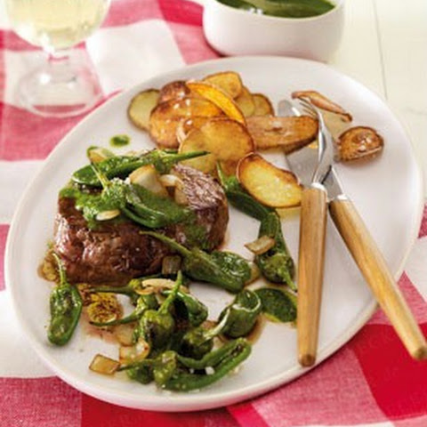 Mojo Marinated Flank Steak With Grilled Onions Recipe — Dishmaps