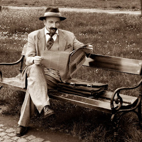 XIX century by Zoran Nikolic - People Portraits of Men ( sepia, old pictures, man )