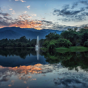 Dramatic Sunrise  by Adrian Choo - Landscapes Waterscapes ( clouds, dawn, red, dramatic, reflections, lake, sunrise )