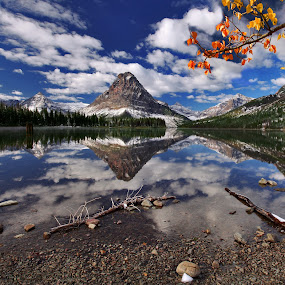 A Mountain Reflection by Al Juniarsam  - Landscapes Mountains & Hills ( pwcwinter, reflection, two medicine lake, montana, glacier national park )