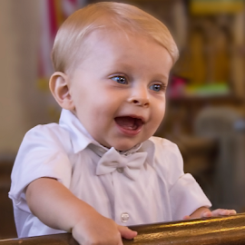 Happy Baby by Ted Anderson - Babies & Children Children Candids ( blonde, bow tie, white, baby, smile )