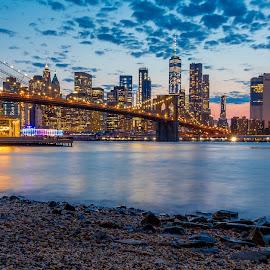 Brooklyn Bridge by Paulo Fernandes - City,  Street & Park  Skylines ( brooklyn, sunset, bridge, brooklyn bridge, new york,  )