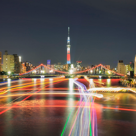 Sky Tree Light Trails by Nyoman Sundra - City,  Street & Park  Night ( japan, skytree, tokyo, night, light, city )