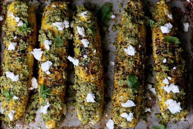 Charred Corn with Pistachio Cilantro Lime Rub Recipe | Yummly