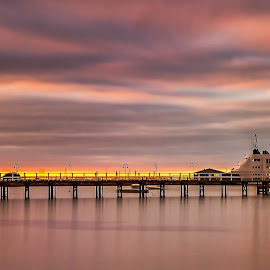 Smooth Sailing by Keith Walmsley - Landscapes Sunsets & Sunrises ( clouds, water, sunset, ship, pier, landscape )
