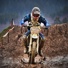 Through The Puddle by Marco Bertamé - Sports & Fitness Motorsports ( bike, mud, rainy, motocross, solitaire, motorcycle, clumps, puddle, alone, race, competition )