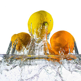 Podium by Giovanni De Bellis - Food & Drink Fruits & Vegetables ( water, high key, wot, splash, still life, mandarin, dive, podium, lemon )