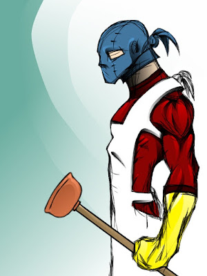 Image result for superhero with plunger