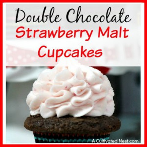 Double Chocolate Strawberry Malt Cupcakes