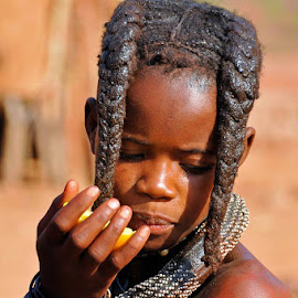 Himba young girl at Epupa in Namibia. by Lorraine Bettex - Babies & Children Child Portraits