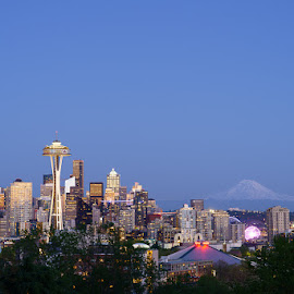 Seattle After Sunset by Mark Davis - City,  Street & Park  Skylines ( space needle, pnw, mt. rainier, seattle, skyline, washington )